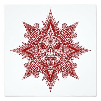 Vermelho asteca da máscara de Sun no branco Convite Personalizados
