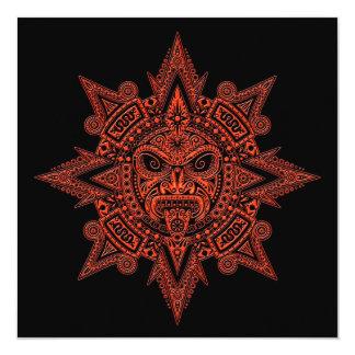 Vermelho asteca da máscara de Sun no preto Convite Personalizado