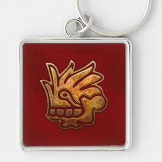 Vermelho ASTECA & ouro de Malinalli Chaveiro Quadrado Na Cor Prata