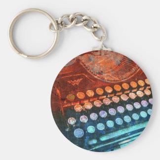 Vermelho azul PopArt da máquina de escrever Chaveiro