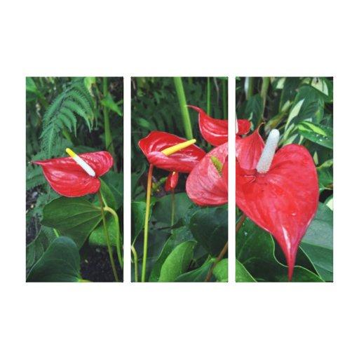 Vermelho botânico do projeto de Eden Impressão Em Tela Canvas
