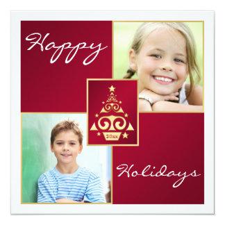 Vermelho, branco, cartão do feriado da árvore de convite quadrado 13.35 x 13.35cm
