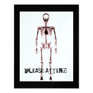 Vermelho branco de esqueleto do solteiro da visão convite 10.79 x 13.97cm