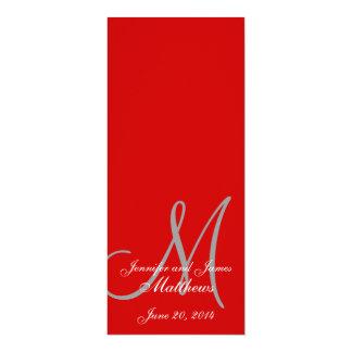 Vermelho & branco do monograma do programa da convite 10.16 x 23.49cm