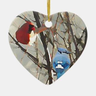 Vermelho, branco e azul ornamento de cerâmica coração