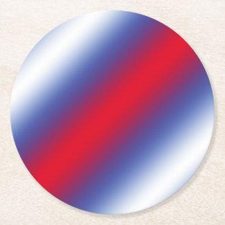 Vermelho, branco e azul porta-copo de papel redondo