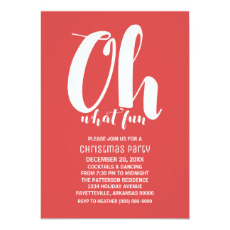 Vermelho branco oh que festa natalícia do convite 12.7 x 17.78cm