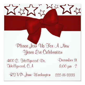 Vermelho & branco Stars o convite de festas do ano Convite Quadrado 13.35 X 13.35cm