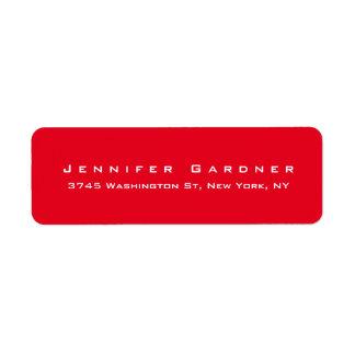 Vermelho brilhante à moda bonito elegante moderno etiqueta endereço de retorno