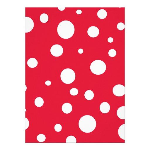 Vermelho brilhante com bolinhas brancas convites personalizado