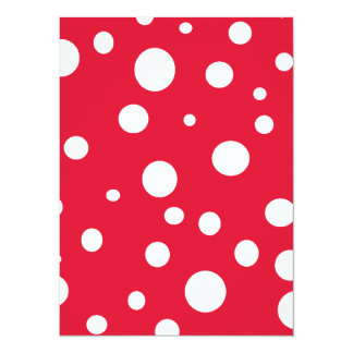 Vermelho brilhante com bolinhas brancas convite 13.97 x 19.05cm