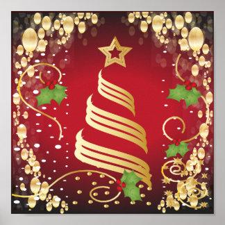 Vermelho brilhante festivo e ouro do Feliz Natal Poster
