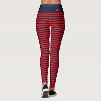 Vermelho & caneleiras descascadas marinho de leggings