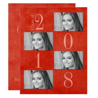"""Vermelho & cartão 4,25"""" do formando do abricó x"""