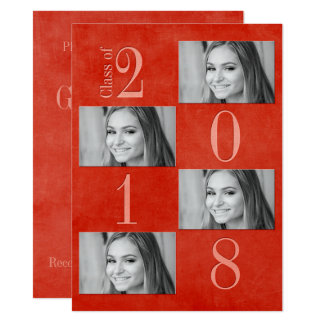 """Vermelho & cartão 5,5"""" do formando do abricó x"""