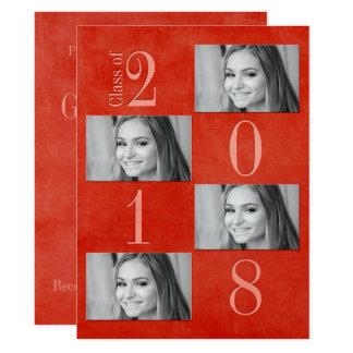 """Vermelho & cartão 6,5"""" do formando do abricó x"""