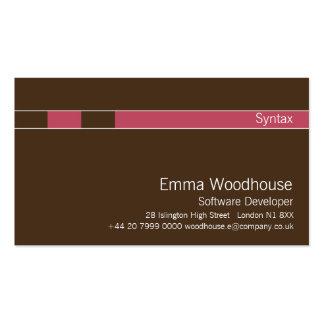 Vermelho castanho chocolate violeta da sintaxe modelo cartões de visitas