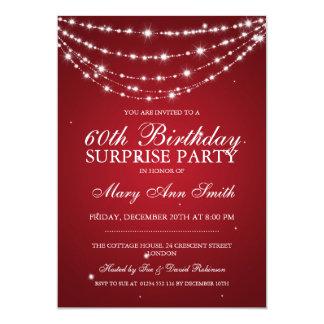 Vermelho Chain Sparkling da festa de aniversário Convite Personalizados