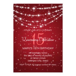 Vermelho Chain Sparkling do partido de Quinceañera Convites Personalizados