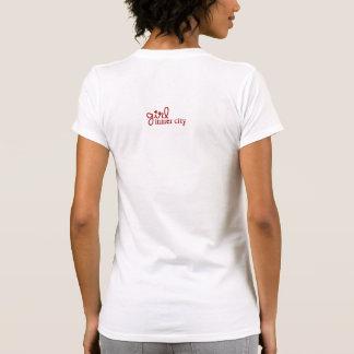 Vermelho cinza branco da menina do centro urban camisetas