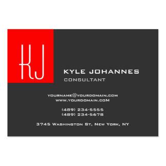 Vermelho cinzento do monograma liso moderno à moda cartão de visita grande