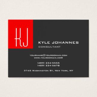 Vermelho cinzento do monograma liso moderno à moda cartão de visitas