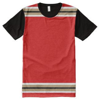 Vermelho com ouro verdadeiro branco e guarnição camiseta com impressão frontal completa