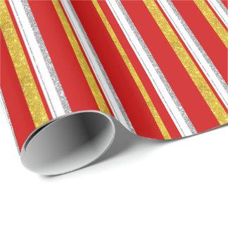 Vermelho com prata do ouro e as listras brancas papel de presente