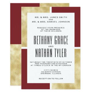 Vermelho + Convite clássico do casamento do ouro