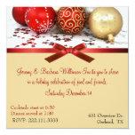 Vermelho & convite da festa de Natal das bolas do