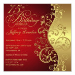 Vermelho & convite de aniversário do ouro 75th