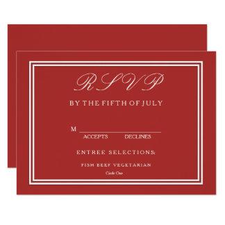 Vermelho da Aurora com detalhe branco do casamento Convite 11.30 X 15.87cm