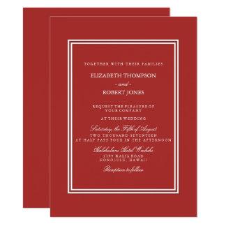 Vermelho da Aurora com detalhe branco do casamento Convite 13.97 X 19.05cm