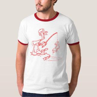Vermelho da bota da pesca tshirt