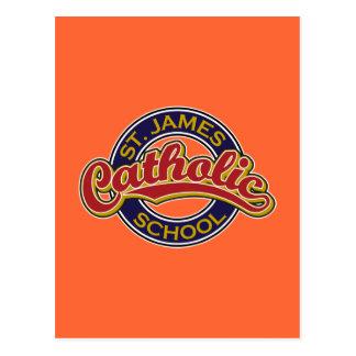 Vermelho da escola católica de St James no azul Cartões Postais