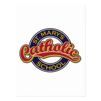 Vermelho da escola católica de St Mary no azul Cartao Postal