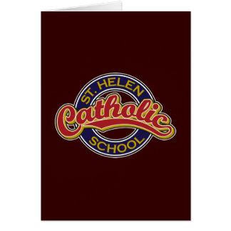 Vermelho da escola católica do St. Helen no azul Cartoes