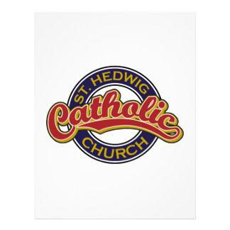 Vermelho da igreja Católica do St. Hedwig no azul Modelos De Papel De Carta