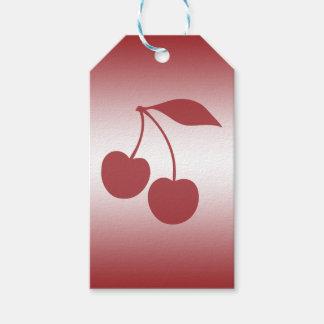 Vermelho de cereja ao inclinação branco etiqueta para presente