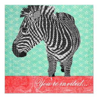 Vermelho de turquesa da zebra do vintage
