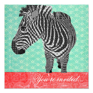 Vermelho de turquesa da zebra do vintage convites personalizado