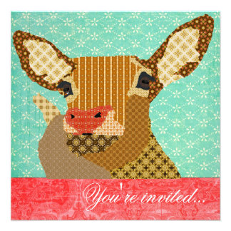 Vermelho de turquesa de Rudolph da rena Convites Personalizado