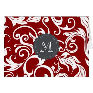 Vermelho de vinho escuro floral do cartão de nota