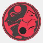 Vermelho de Yin Yang Adesivos Em Formato Redondos