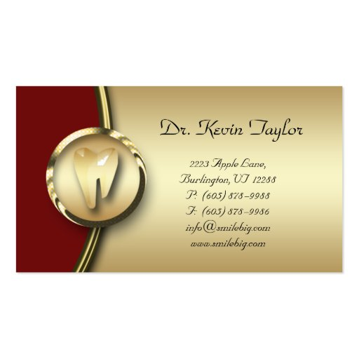 Vermelho dental do metal do ouro do cartão de visi modelos cartão de visita
