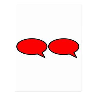 Vermelho direito da bolha 2 da palavra os cartao postal