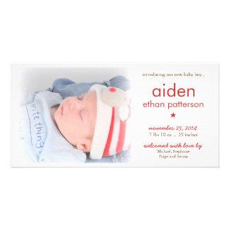 Vermelho do anúncio | do nascimento da foto do beb cartões com foto personalizados