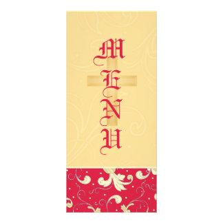 Vermelho do batom, ouro, cristão, menu Wedding 10.16 X 22.86cm Panfleto