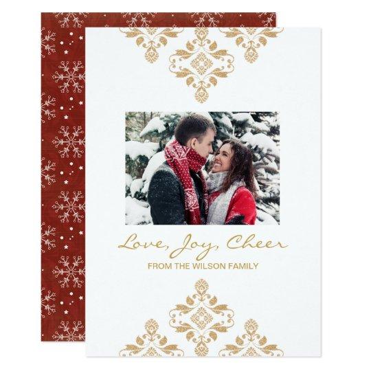 Vermelho do brilho do ouro do Natal do cartão com