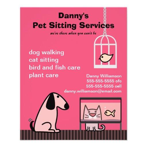 Vermelho do cão & do gato do baby-sitter do animal panfletos coloridos